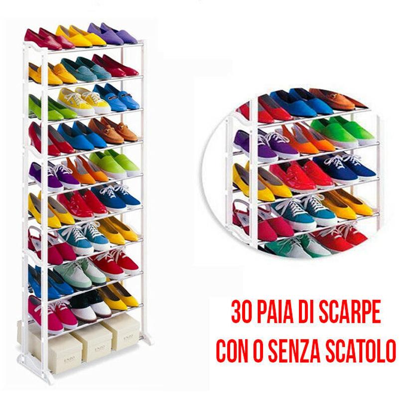 Scarpiere Componibili In Plastica.Scarpiera Salvaspazio 30 Paia Componibile Shoes Rack Scaffale